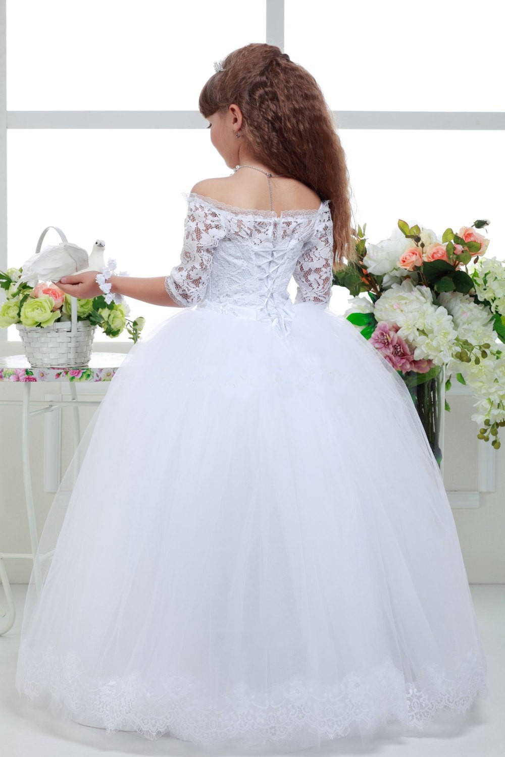New Long Lace Ball Gown Flower Girls Dresses Simple Kids ...