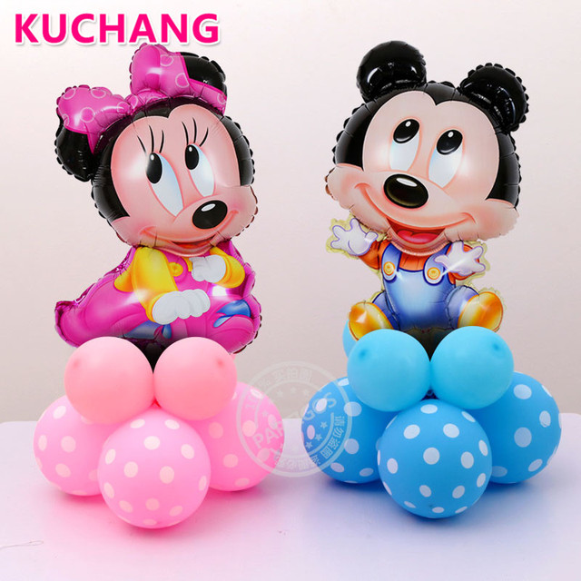 12pcs/lot cute Minnie and Mickey mouse Foil upright Balloons Helium Cartoon mickey latex 2.8g Balloons for Party decorations