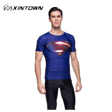 Running Cycling clothes XINTOWN Mountain Bike Cycling Jersey Short only Body Building Soccer Jersey Superman T-shirt