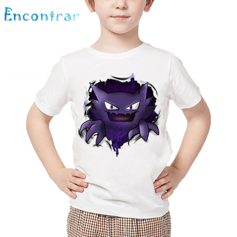 Kids Cute Gengar Print T shirt Children Summer White Tops Boys and Girls Cartoon Pokemon Go Funny T-shirt,HKP5100 funny print raglan sleeves t shirt