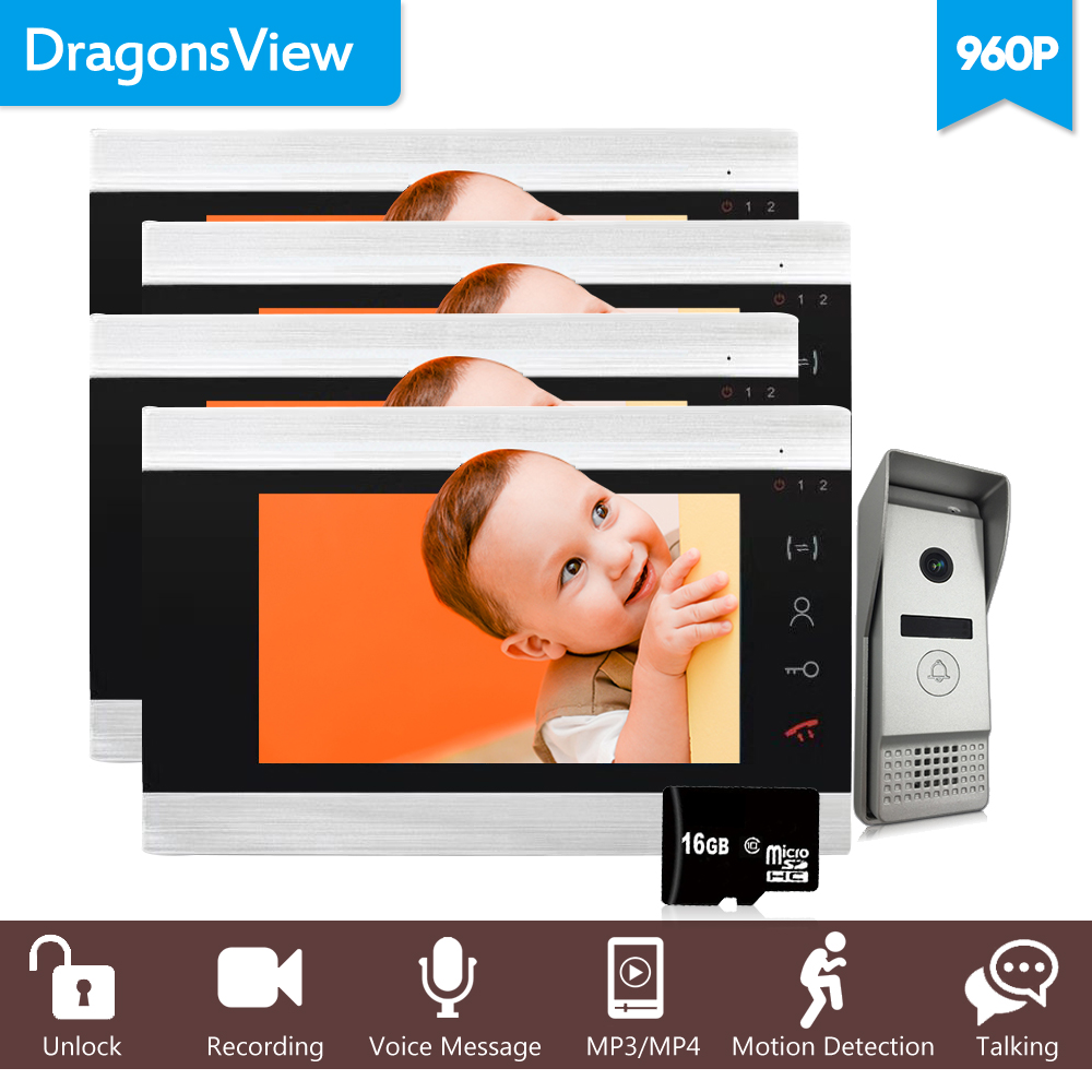 Dragonsview 7 Inch 960P Video Door Phone 4 Monitor Wide Angle Video Intercom For The Apartment 1 Doorbell Panel Motion Detection