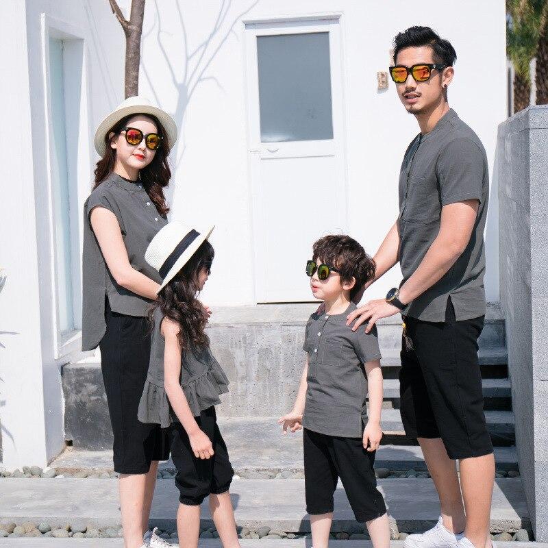 Famille correspondant tenues mère père et bébé fille fils correspondant vêtements Couple costume grande soeur pantalon petit frère short 1