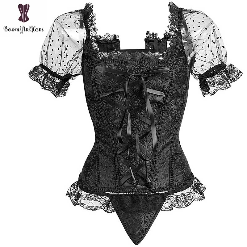 Floral Corset Clothes Women Short Sleeves Gothic Sexy Outwear Bustier Overbust Korsett For Women Contrast Color Corselet Top Hot