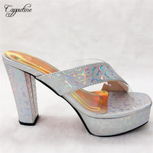 Elegant Silver African Party Shoes High Heel Slip-On Women's Shoes CFS14(China)