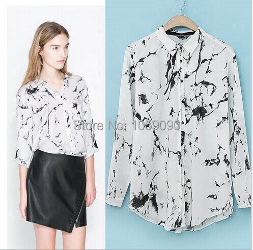 2015 za new trendy women white marbled ink print long for Print long sleeve shirt