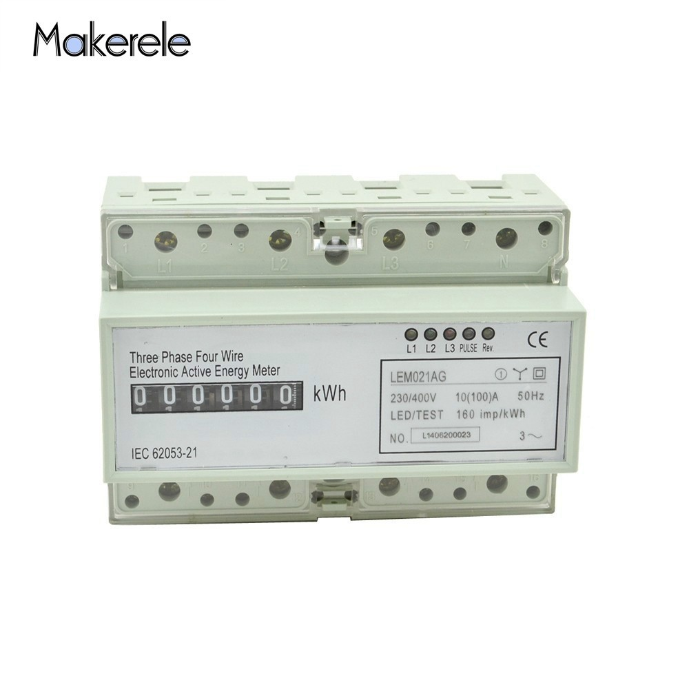 Makerele AC 60HZ Wattmeter Din Rail MK-LEM021GC Portable Digital LCD Three Phase Energy Meter Electronic Power Meter RecordMakerele AC 60HZ Wattmeter Din Rail MK-LEM021GC Portable Digital LCD Three Phase Energy Meter Electronic Power Meter Record