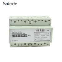 Makerele AC 60HZ Wattmeter Din Rail MK LEM021GC Portable Digital LCD Three Phase Energy Meter Electronic Power Meter Record