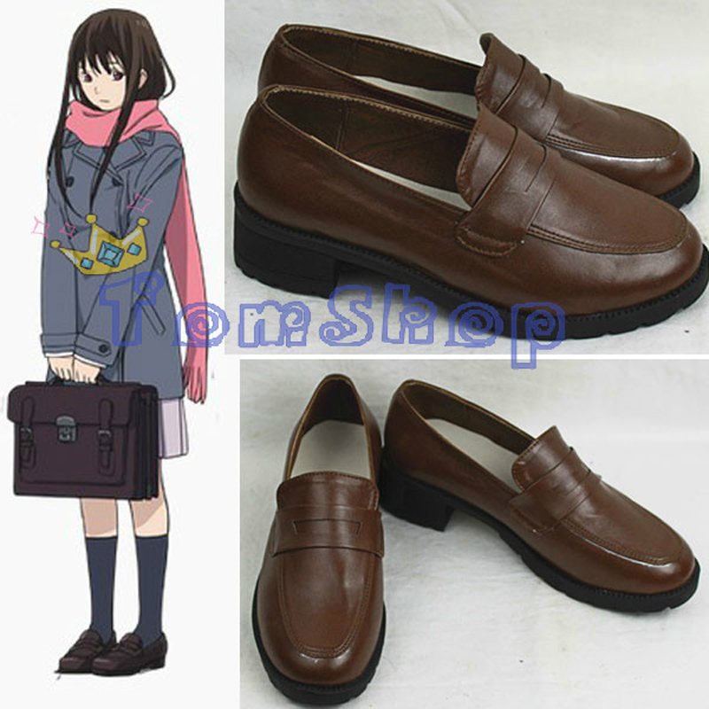Wholesale Noragami Iki Hiyori Cosplay Shoes Custom Size High School Girl Retro Leather shoes Free Shipping
