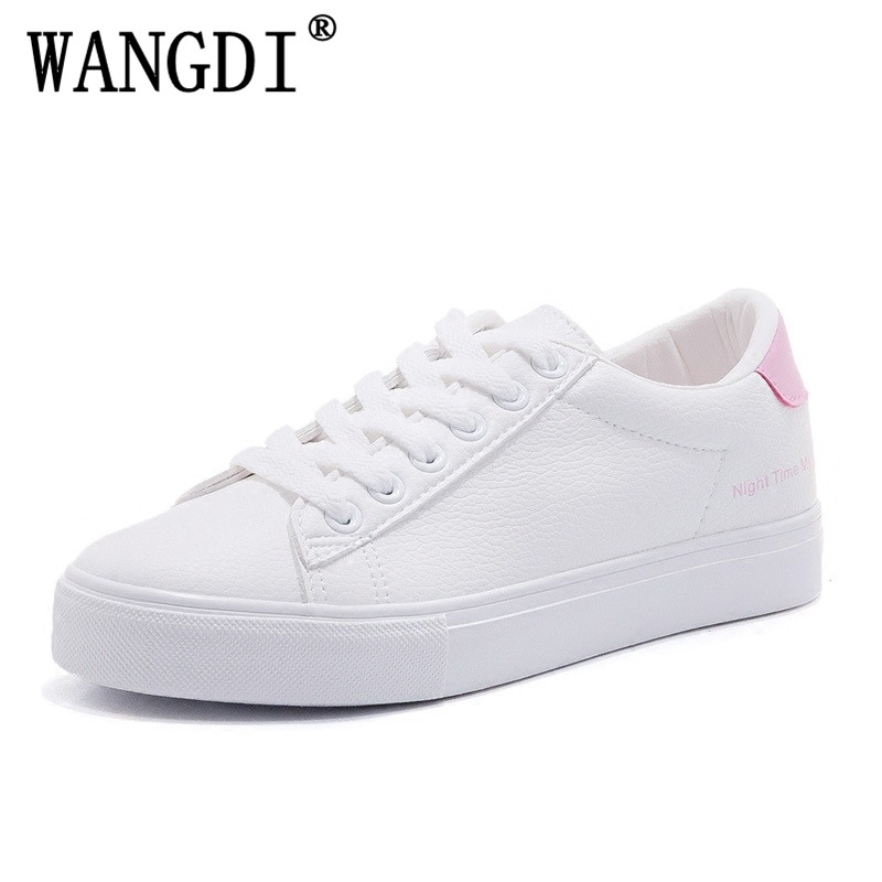 2018 spring new fashion women shoes casual classic solid color PU leather shoes women casual fashion flats white shoes sneakers women shoes 2016 high fashion shoes men spring summer women s flats casual shoes pu leather 2016