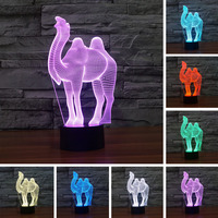 Cartoon Camel 3D Illusion LED Night Light 7 Colors Dimming Table Lamp Christmas For Children Kids