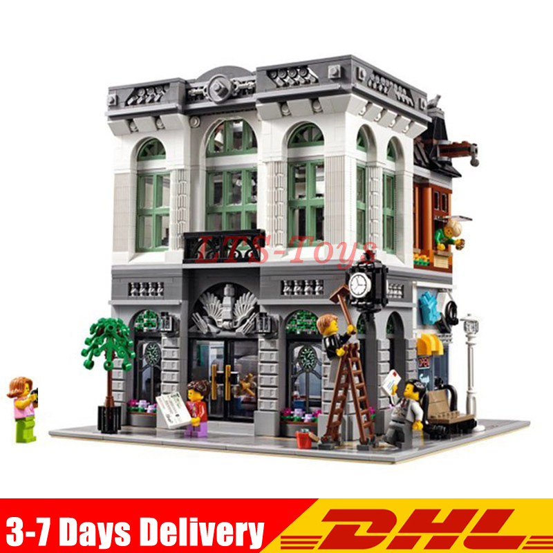 IN Stock DHL LEPIN 15001 2413Pcs Brick Bank Model Building Kits Blocks Bricks Toy Compatible legoed With 10251 MOC Gifts