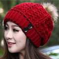Free shipping, Autumn and winter hat female knitted hat  winter wool hat  Faux rabbit fur ball knitted warm hats for women