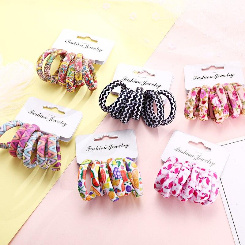 6 шт./упак. новый для женщин принт хлопок эластичные ленты для волос резинки для волос для резинки для волос конский хвост держатель модные аксессуары для волос