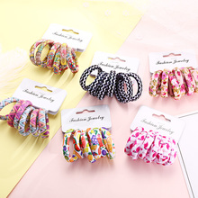 6PCS Pack New Women Print Cotton Elastic Hair Bands Scrunchie Gum For Hair Rubber Bands Ponytail