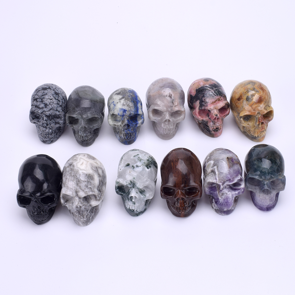 2'' Handmade Stone Skull Statue Crystal Healing Skull FengShui Mini Sculpture Miniature Figurine Ornament Art Collectible