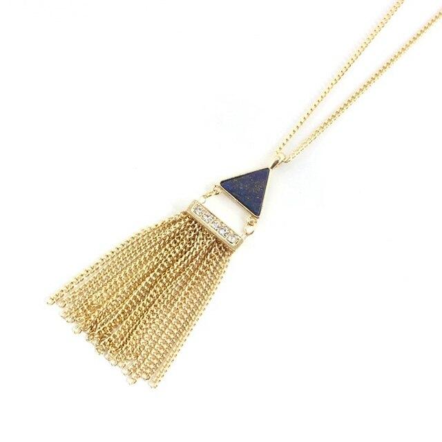 Фото кисточка золотого цвета chicvie ожерелье с кулоном из натурального цена