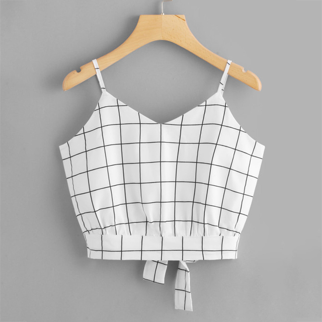 39b1bfd9e97 US $4.99 |Women Casual Spaghetti Strap Bow Top Vest Striped Split Tie Back  Crop Cami Top Knot Beach Vest 2018 Summer A1-in Camis from Women's Clothing  ...