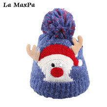 Christmas Baby Hat Newborn Cute Winter Kids With Pompom Ball Warm Hats Knitted Wool Kid Caps