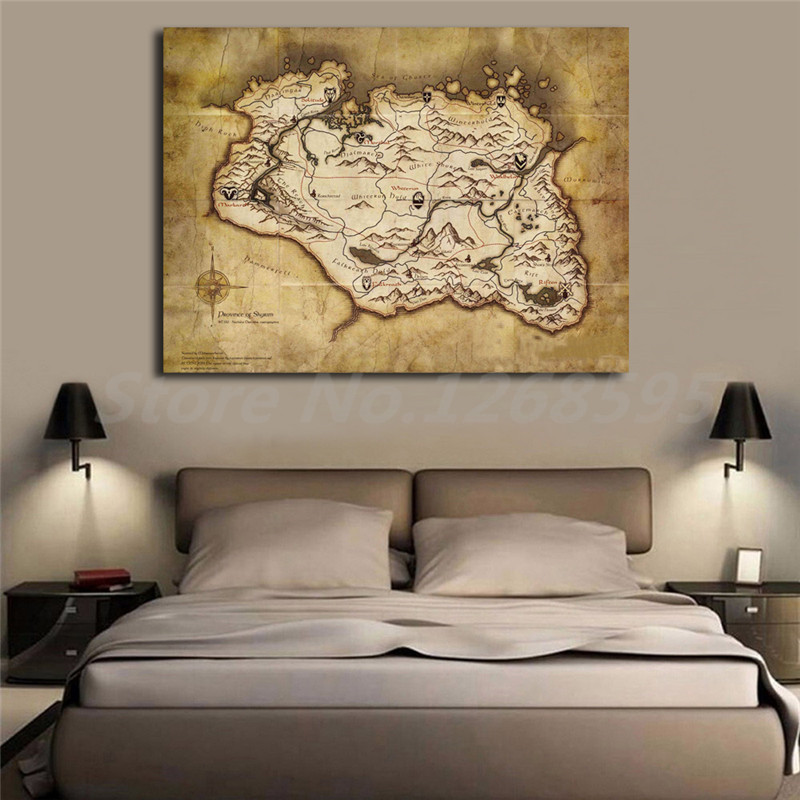 Map Of Skyrim HD Wallpaper Wall Art Canvas Poster And