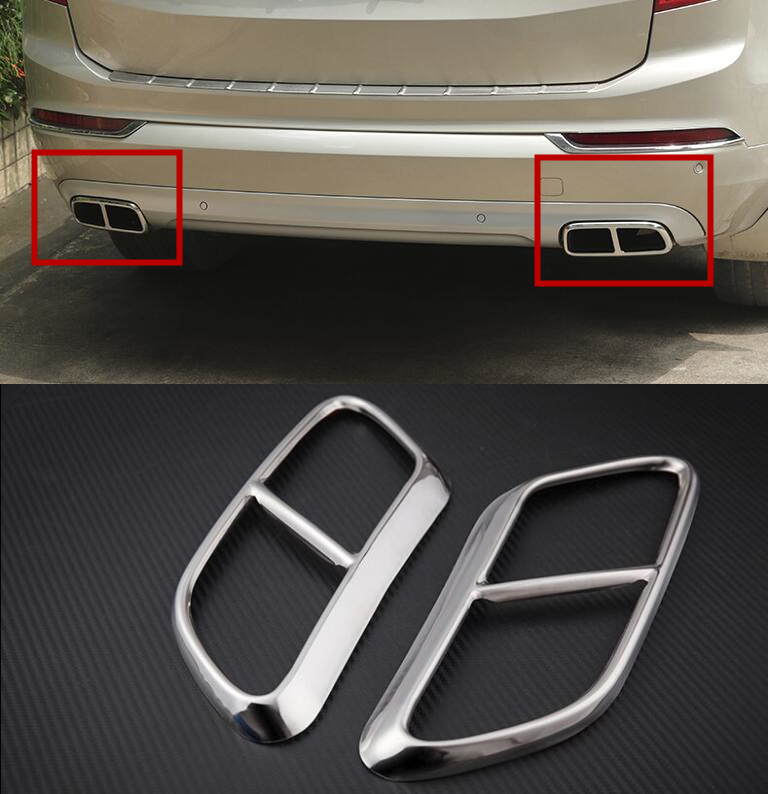For Volvo XC90 2016 2017 2018 Car Tail End Pipe Exhaust Muffler Tip Cover Trim 2pcs