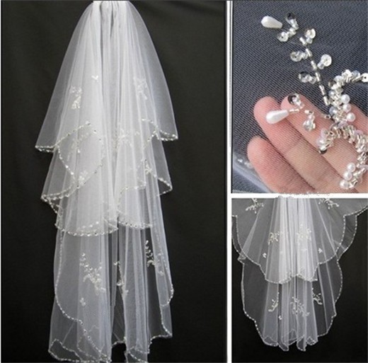 Купить с кэшбэком bridal veil 2017 New hotsale veils for bride Edge crystal beaded wedding veil Veus de noiva cathedral wedding veil