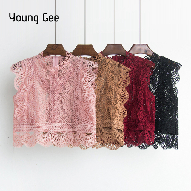 Young Gee Elegant Lace Floral Blouse Stand Shirt Women Summer Blouses 2018 Sleeveless Hollow Out Pink Blue White Black Lace Tops