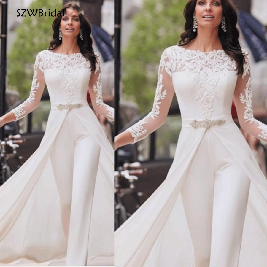 New Arrival White Long sleeve evening dresses 2019 Jumpsuit Dubai Arabic Evening Dress Party Pants abiye formal dress(China)