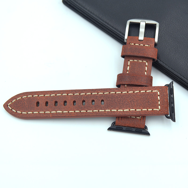 Multiple colors 38mm 42mm Replacement watch straps Fit For Apple Watch Italian calfskin leather Watch Band For Women Man Retro 38mm 42mm brown apple watch straps vegetable tanned leather apple watch band for women or man