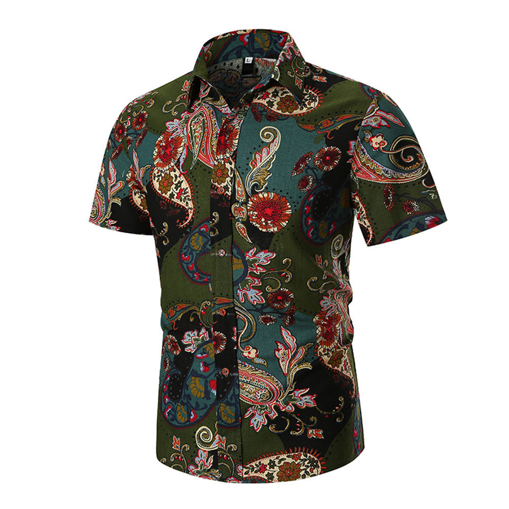 India Paisley Male Short Shirt Gentleman Elegant Dinner Wear Blouse Vintage Printed Shirts 2019 New Slim Man Blouse 3XL Hot Sale