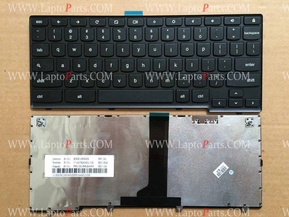 US Keyboard For LENOVO Ideapad N20P Series Black With Frame English 25216045 V-147920AS1 Laptop