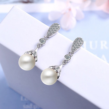Classic white imitation pearl earrings long clear crystal dangle drop for women girls bride  wedding engagement jewelry