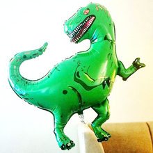 1pcs Giant Dinosaur Aluminum Foil Toys Party Hat Tyrannosaurus Green Rex Toys Ballons Birthday Party For Kids Floating Toys(China)