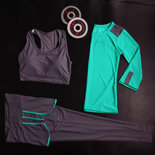 3 pcs Professional Yoga Set Quick Dry Workout Sport Suit Tights Sexy Yoga Leggings Pants+Top+Bra Gym Clothes Tracksuit For Women