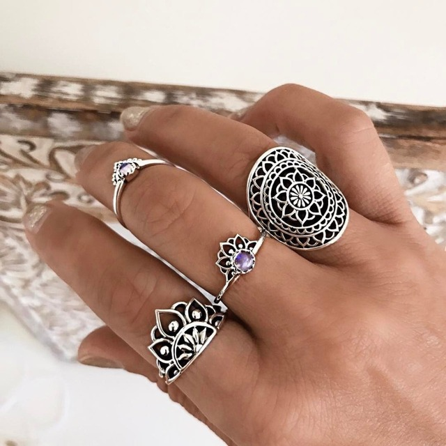 WLP Bohemia wind retro jewel ring exaggerated hollow totem Midi Ring Sets Vintag