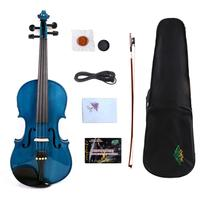 Yinfente Blue Electric Acoustic Violin 4/4 Maple+Spruce Hand made Sweet Tone Free Case+bow+Cable#EV1