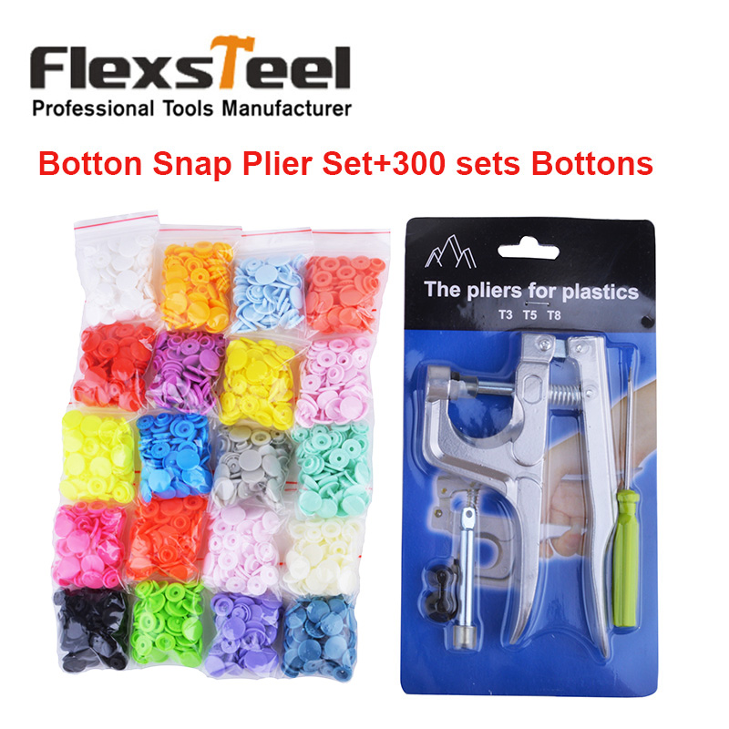 все цены на DIY Sewing Craft Snap Fastener Kit Pliers for Plastic Botton Press Pliers with Screwdriver+300 Sets 20 Colors Plastic Bottons онлайн
