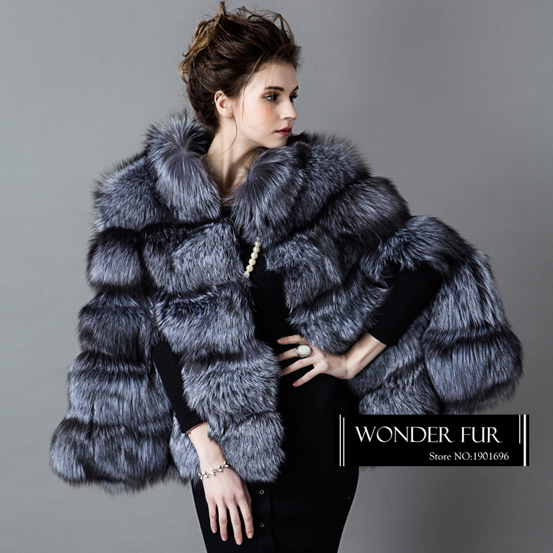 8d70e136e161f SAGA Natural Silver Fox Fur Poncho Full Pelt Fox Fur Cloak Female Plump Silver  Fox Fur Cape Wild Style Thick Animal Fur Cloke-in Real Fur from Women s ...