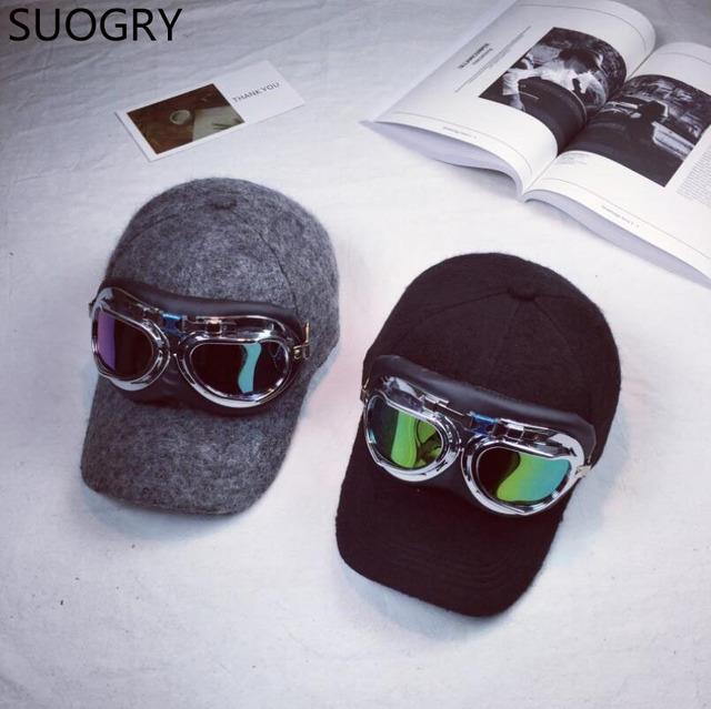 Calentador del invierno más gruesas gafas manto marca snapback gorras de béisbol y los pendientes de los hombres de invierno orejeras gorra de solapas de los hombres cap 2017 nuevo