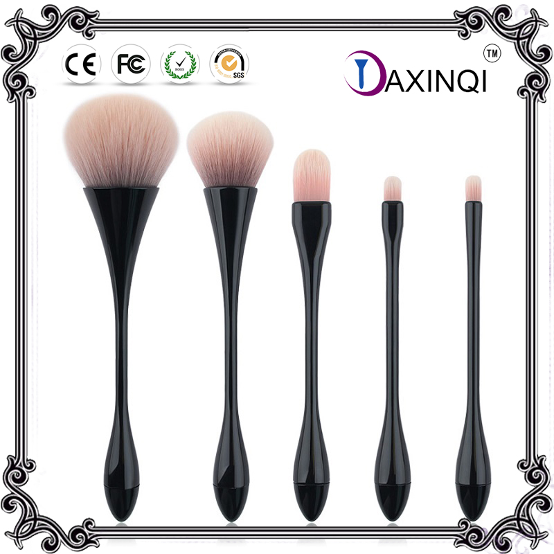 ФОТО 5pcs Black Thin Waist make up brushes set powder foundation  blush blending brush ,eyeshadow Kabuki brush