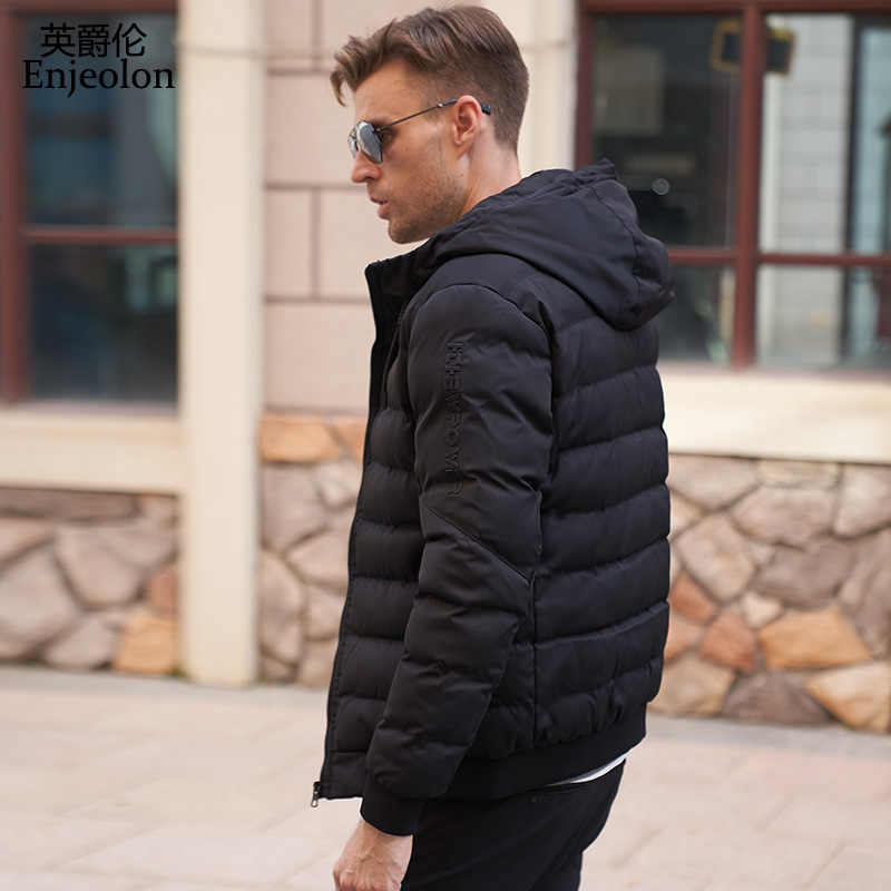 53eff1b9c Enjeolon Brand winter Cotton Padded Jacket coat Men Windproof hoodies Parka  black solid Thick Quilted Coat Men MF0283