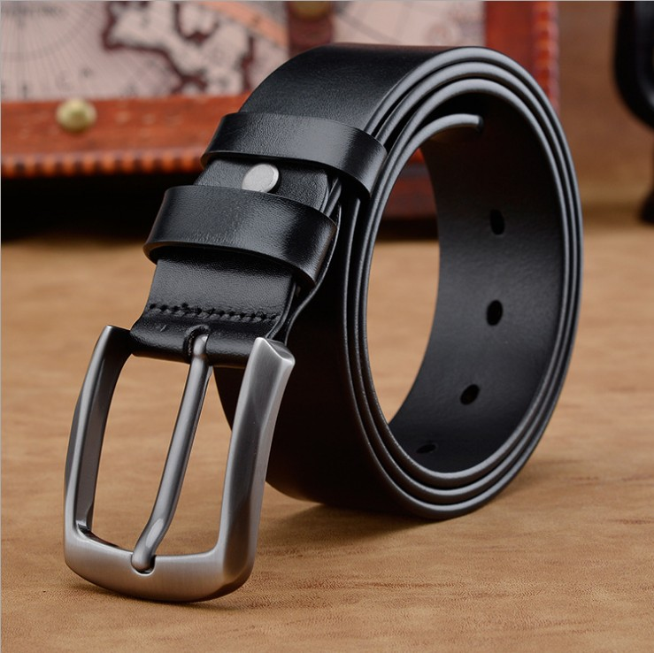 Man Belt Cowhide For Strap Male Pin Buckle Casual Mens Leather Belts