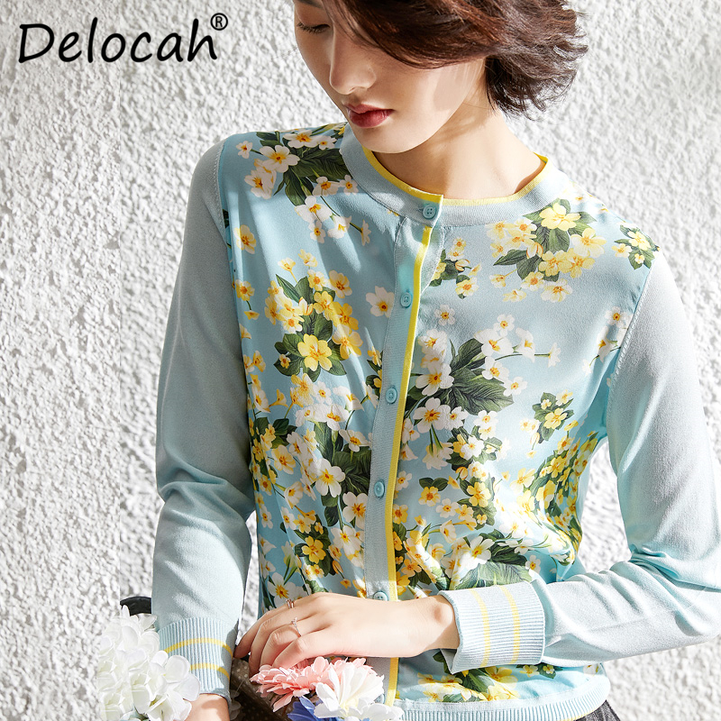 Delocah primavera verano Mujer camisa pasarela moda diseñador manga larga botón Simple flor impreso elegante delgada camisa de punto-in chaquetas básicas from Ropa de mujer    1