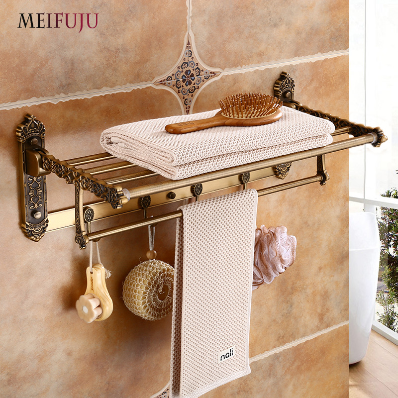MEIFUJU Black Towel Racks Bathroom Antique Bronze Aluminum Towel Rack with Hook Bath Shelf Active Towel holder Foldable European european luxury all copper and bronze towel ring towel hanging antique blue and white towel ring towel rack hanging round