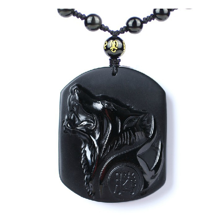 Black Obsidian Carving Wolf Head Obdidian Amulet pendant free necklace obsidian Blessing Lucky pendant Men Jewelry