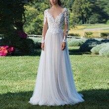 Sexy decote em v uma linha de renda manga longa vestido de casamento 2019 tule rendas apliques princesa vestido de casamento simples sem costas