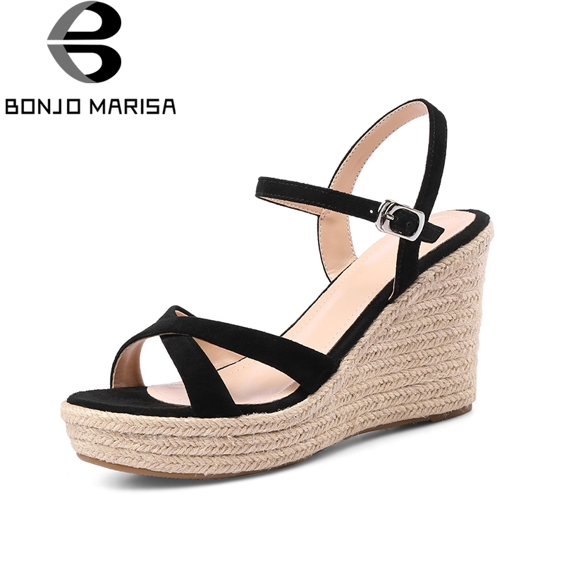 BONJOMARISA Kid Suede Genuine Leather Wedges High Heel Woman Shoes Party Buckle Solid Sweet Women Shoes Summer Sandals genuine leather women sandals rural sweet style women shoes butterfly beading crystal wedges shoes high heel sandals dress shoes