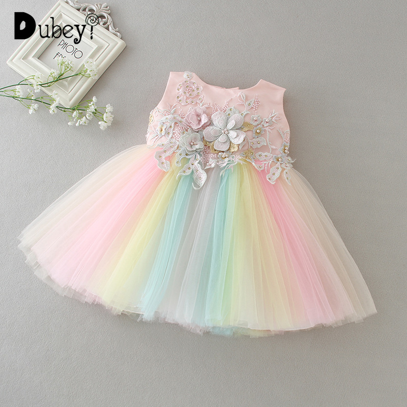Newborn Baby Girl Sleeveless Rainbow Princess Dress Infant Girl First Birthday Wedding Party Dress Toddler Girl