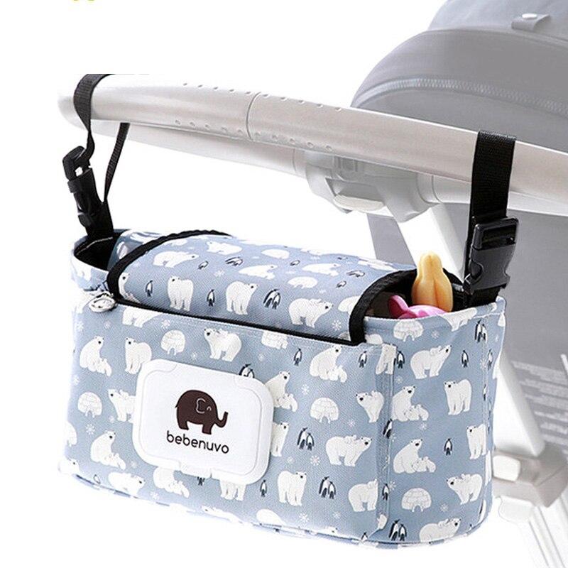 KIDSRUN cochecito de bebé pañal portátil taza impresión de la momia bolsas de bebé Pram cochecito accesorios 37x17x10 cm