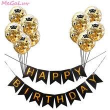 Globos de felicidad de confeti dorados, globo inflable de 12 pulgadas, cartel de feliz cumpleaños negro de látex, decoración de fiesta de cumpleaños, globo de helio