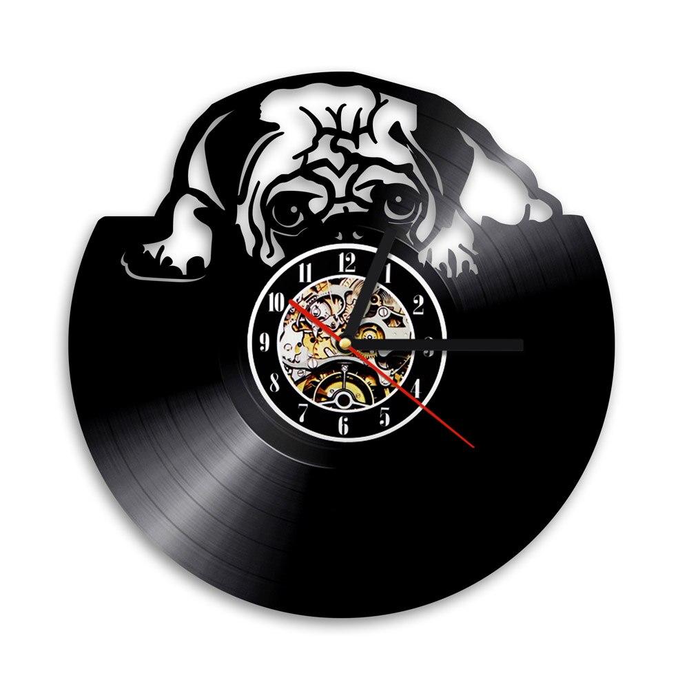 1Piece Cute Pug Dog Vinyl Record Wall Clock Animal Kids Room Doggy Decor Wall Clock House Pet Puppy Handmade CD Time Clock